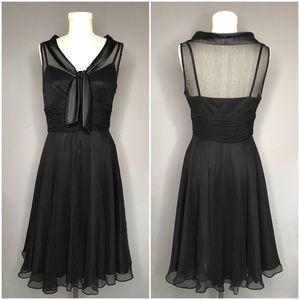 Tahari Black Silk Chiffon Fit and Flare Dress